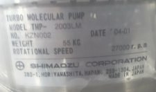 SHIMADZU TMP-2003LM TURBO MOLECULAR PUMP 27,000R.P.M, USED