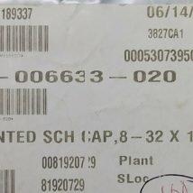 LAM RESEARCH 796-006633-020 SCR,VENTED SCH CAP, 8-32X1-1/4 LOT of 10, NEW