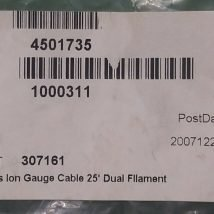 GRANVILLE 354067 GLASS ION GAUGE CABLE 25' DUAL FILAMENT, NEW